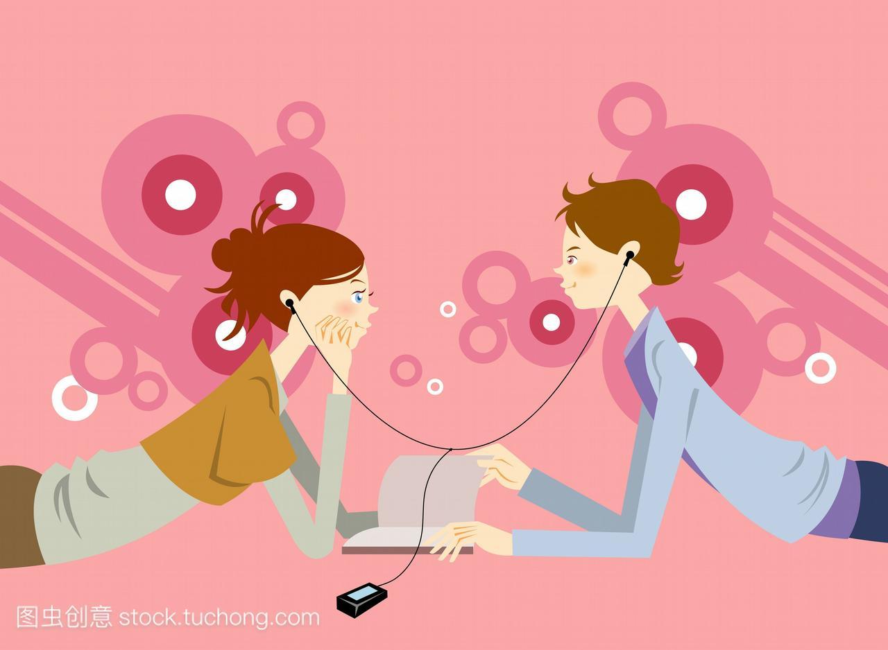 女生,多彩,计算机v女生,插图,彩色,数字,女孩,插画不婚男孩图片
