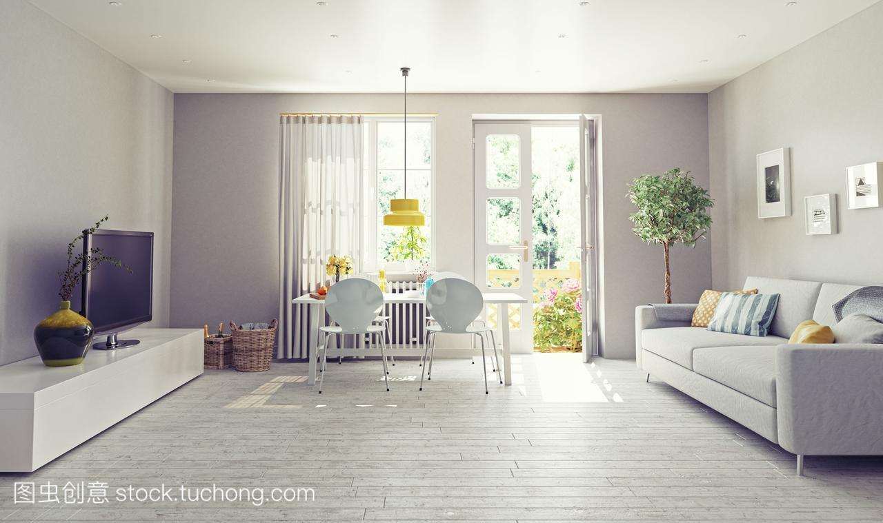 现代客厅室内设计。3d渲染的概念课程主传动系统车床v客厅图片