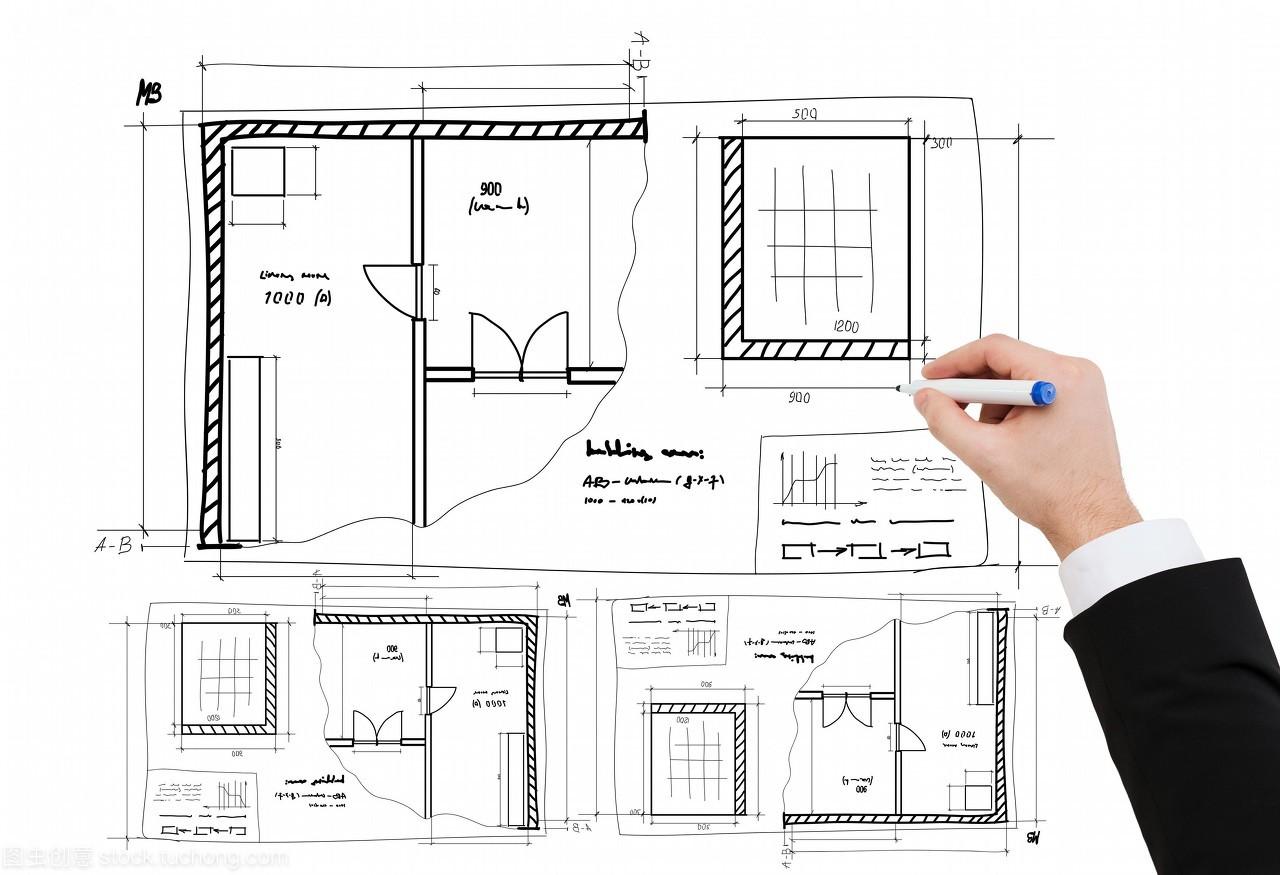 理念,布满与建筑图纸--以商业手绘图纸的商人装修打印批量不能特写图片