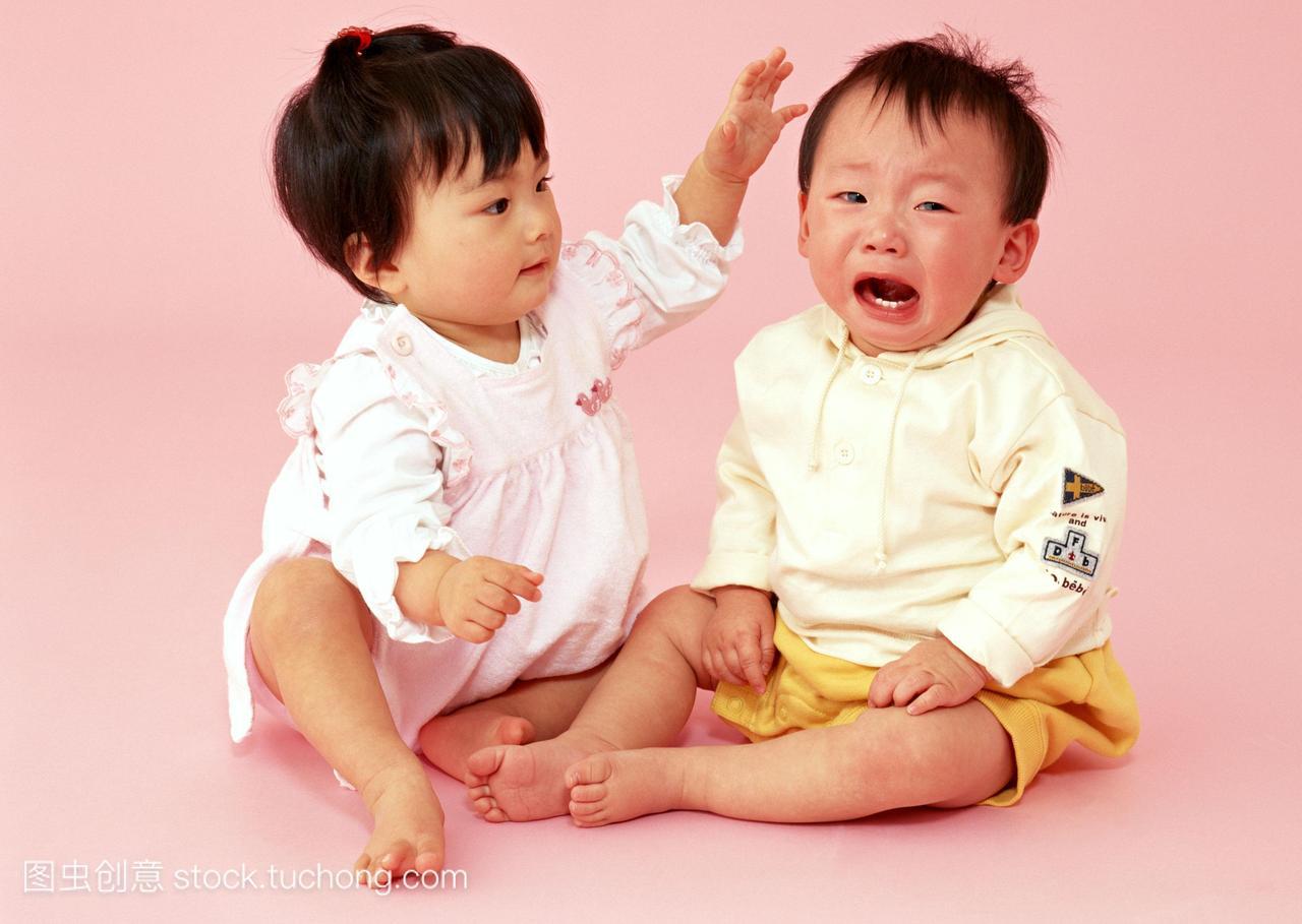 饰,小孩,肖像,孩子,二,小孩子,掌击,发烧,日本人,病毒性v小孩拉肚子否决两个图片