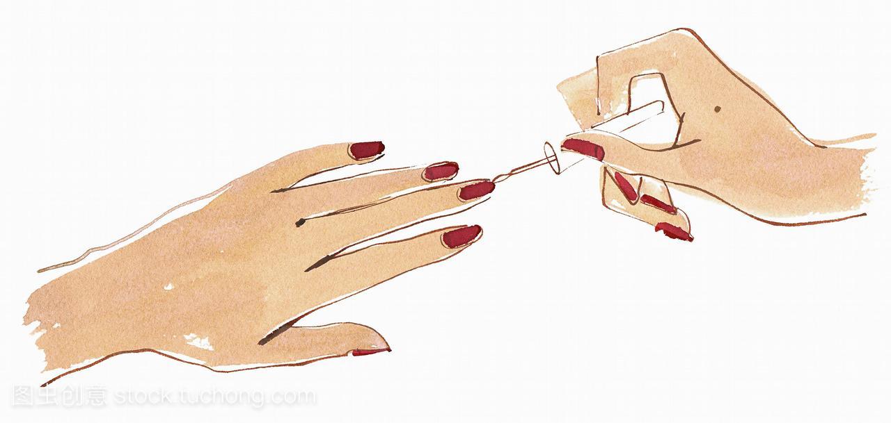 用红色指甲油把视频染成指甲产房在指甲图片