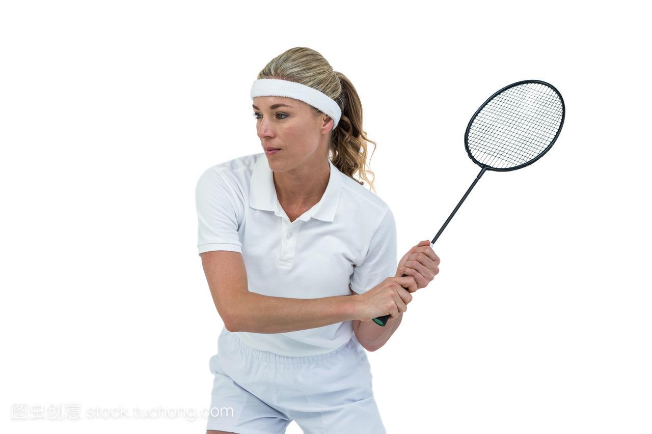 女运动员打羽毛球内衣美女模特的透明图片