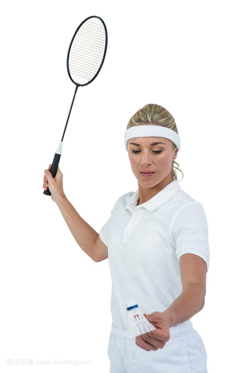 女运动员手持羽毛球拍准备发球图图俄罗斯美女图片