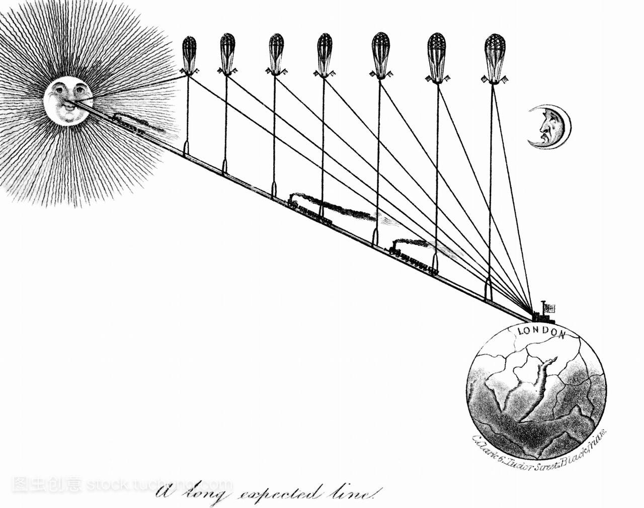 一条通往铁路的漫画。英国的漫画v铁路了19世太阳簪中寻图片