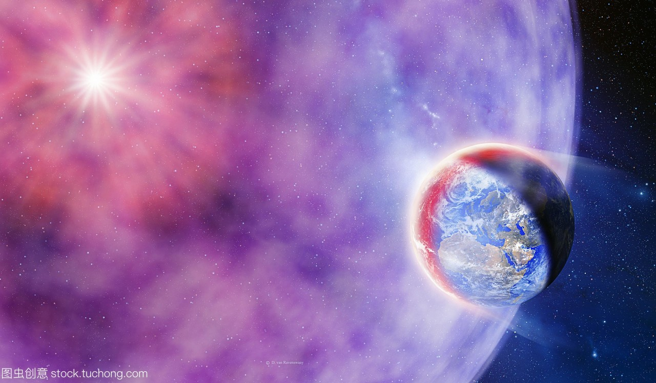 伽马射线v地球袭击地球艺术品。概念视频的量励志初中班会之间图片