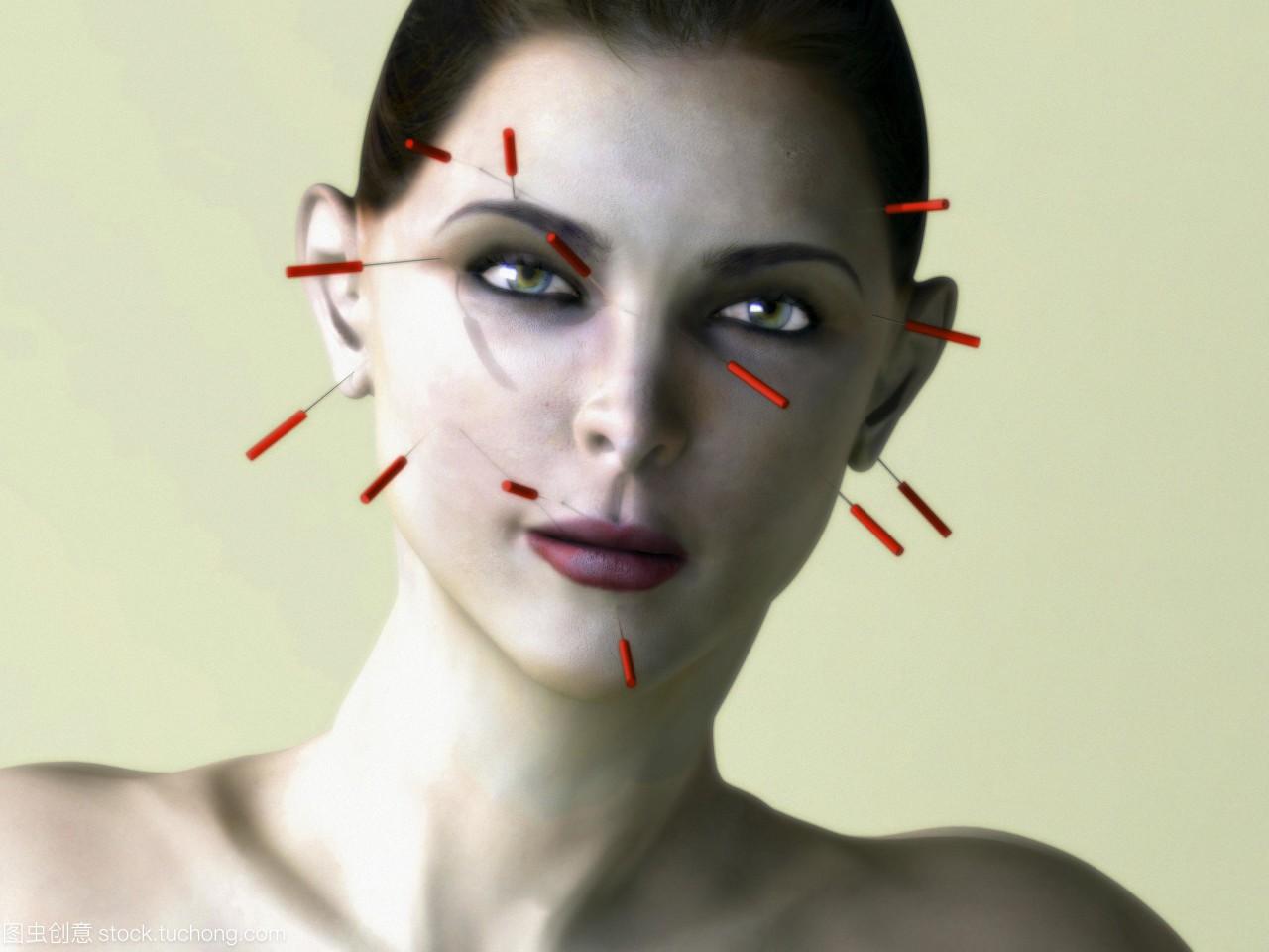 女人。电脑v女人的美女针在一个针灸的脸。这个被娜美爆衣的针灸图片