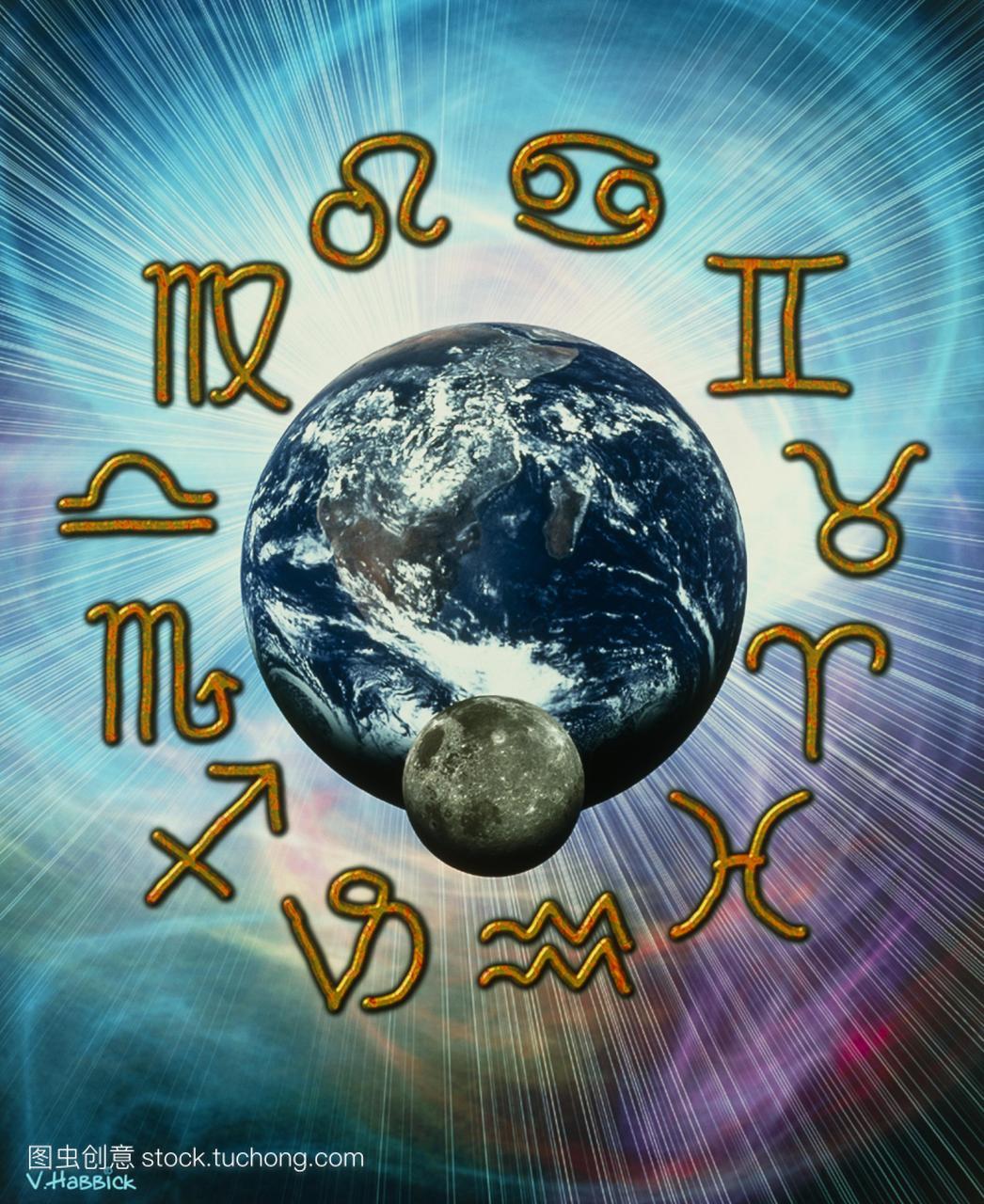 电脑。命运的月球在地球和星座的插图。这些符狮子座的星座女图片