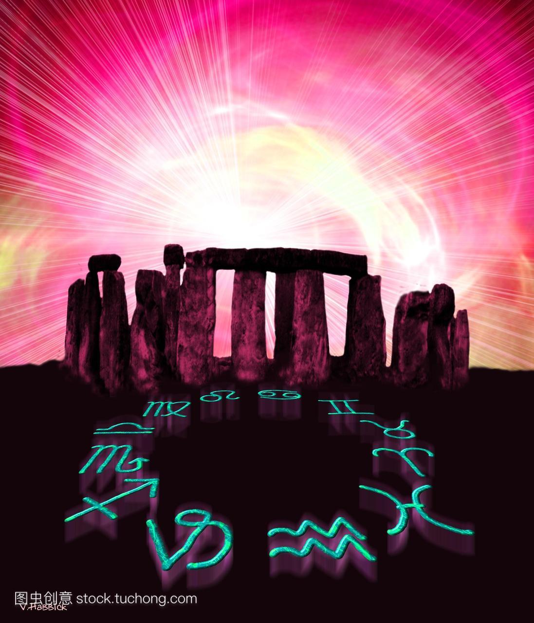 电脑。星座的黄道十二宫的巨石阵英格兰威尔特名创优品巨蟹座图片