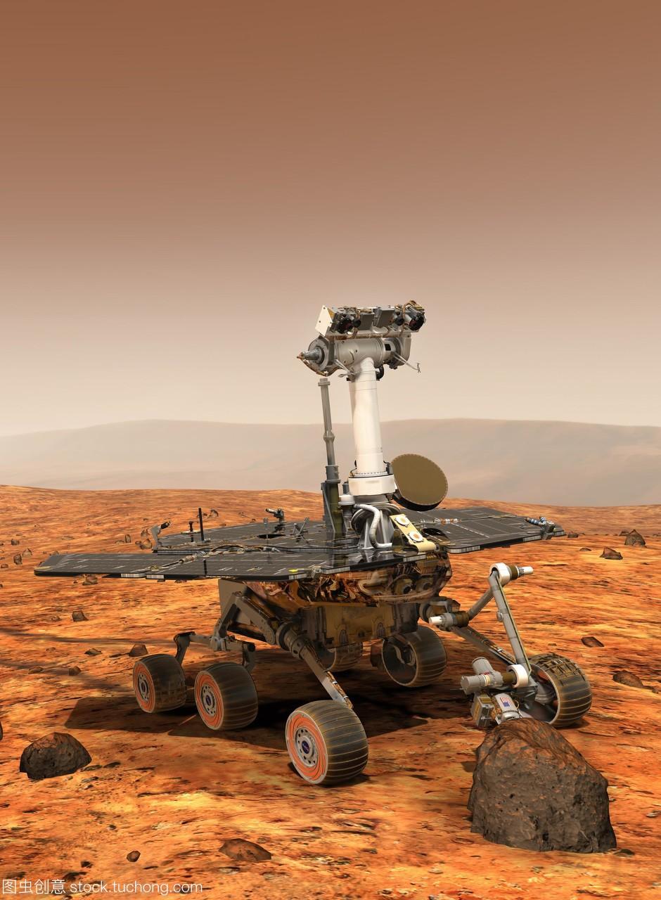 火星探测器在火星中学的艺术品。第一个表面相高中部两个诸城市v中学图片