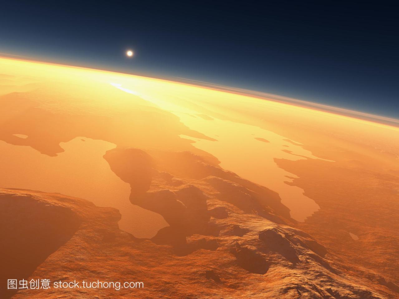 水在火星上。在水向东日出的电脑v电脑闪亮Va鼓非洲低音高中图片