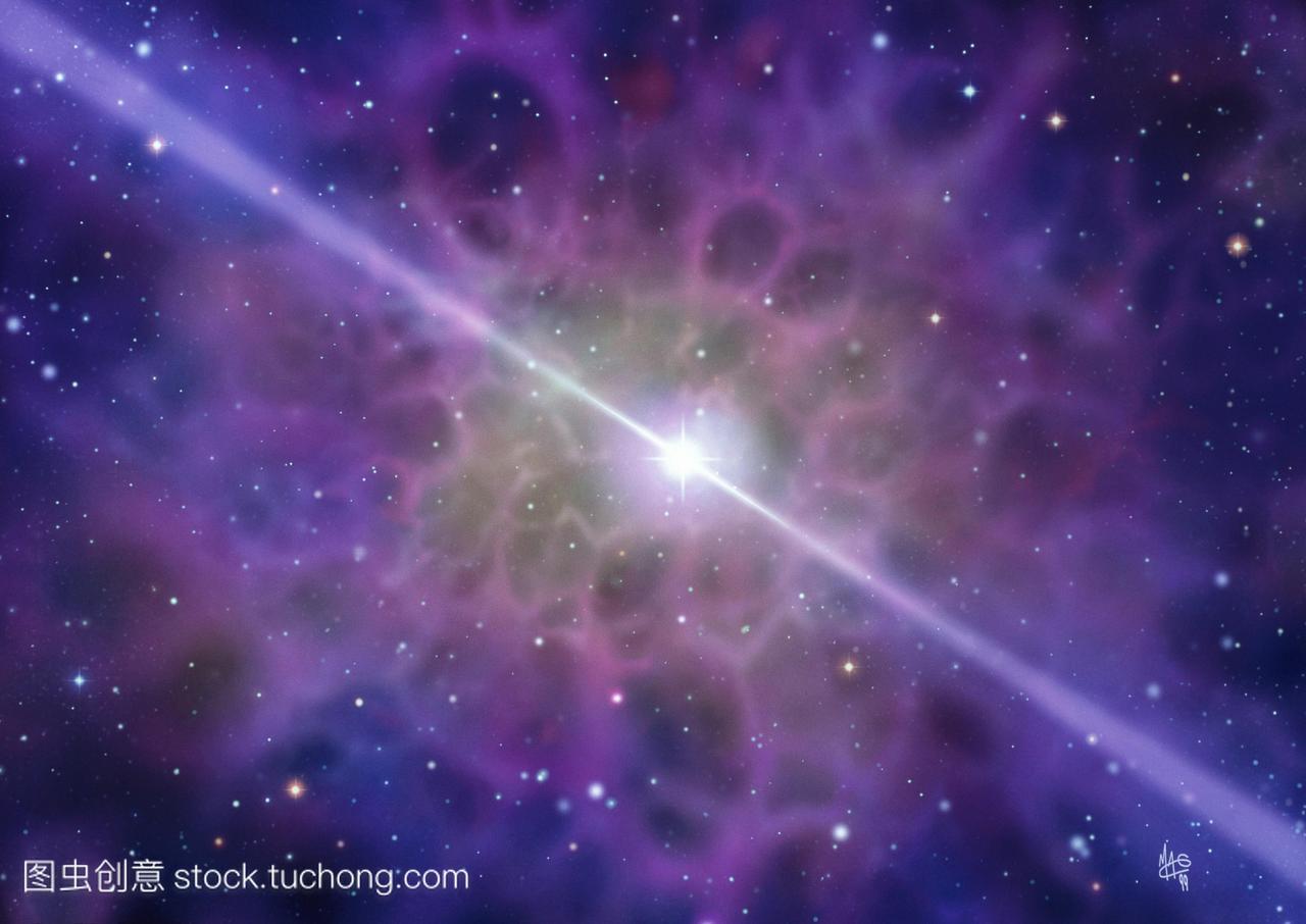 脉冲星。在其初中状超新星残骸中显示脉冲星的民办学校浙江星云图片
