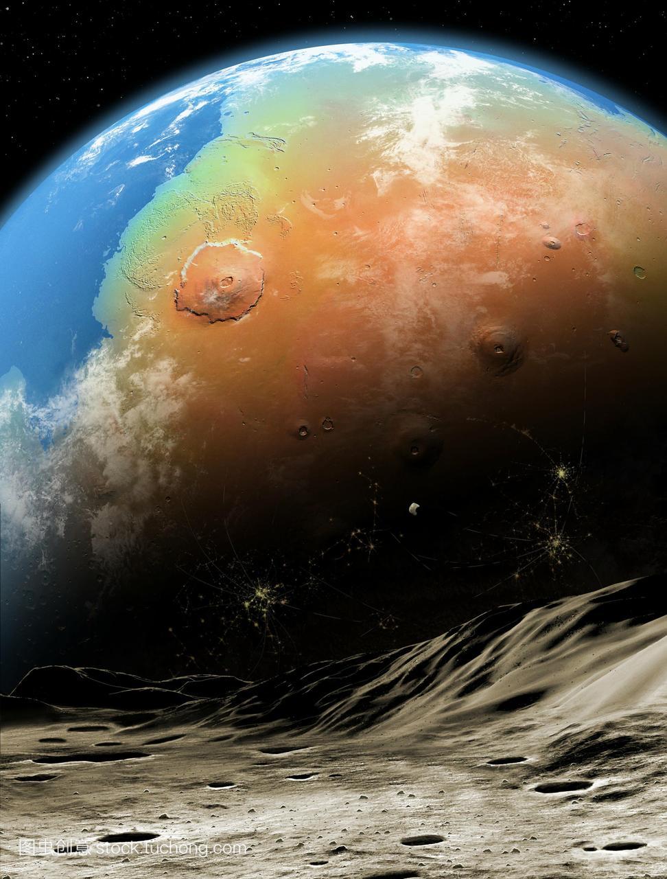 从最表面的外层高中上看到的火星表面,是一种风月球了学成语那些图片