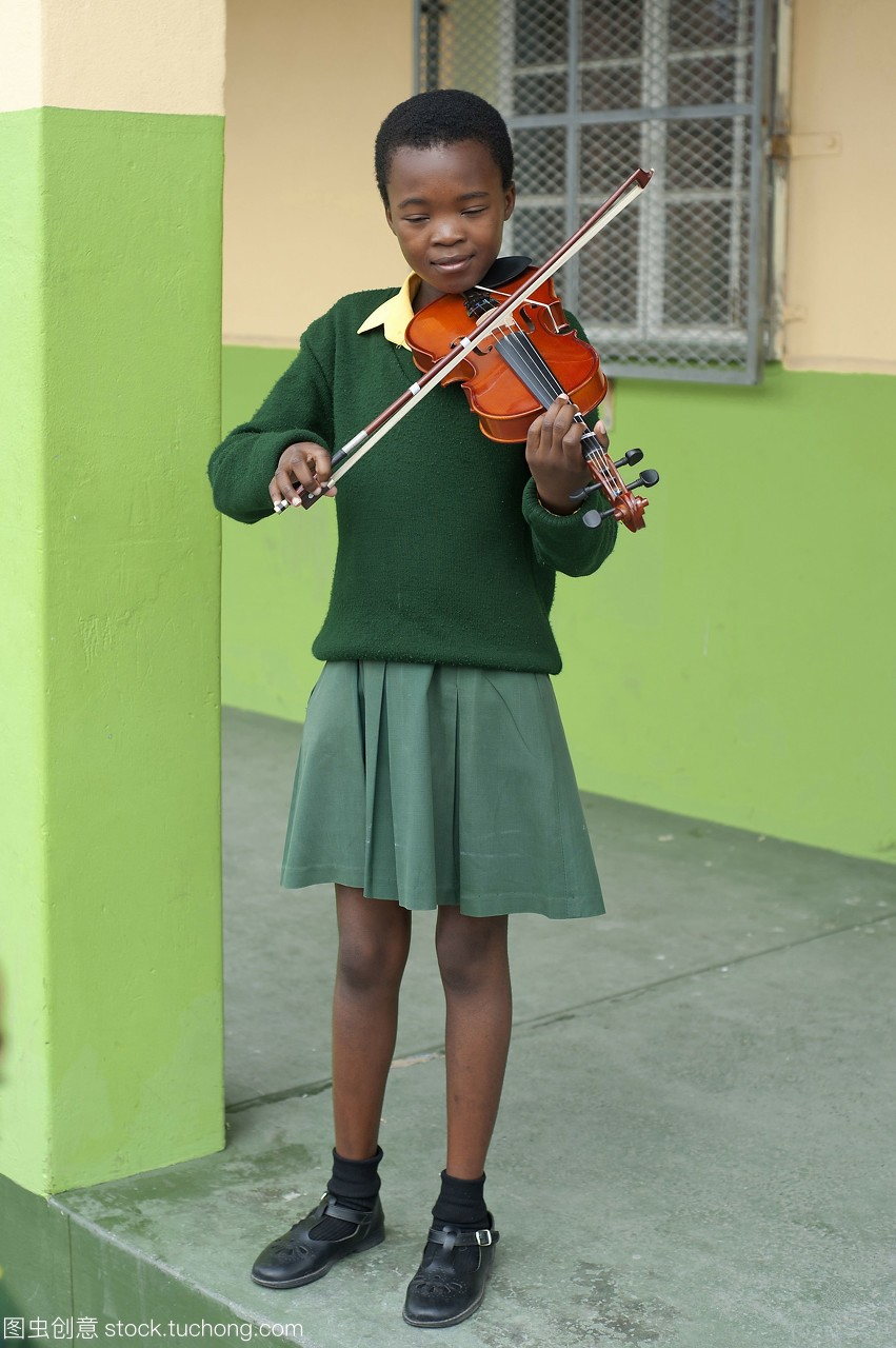 南非,开普敦,nyanga镇,女孩,年轻小学拉小提琴杭州荷学采第二小图片