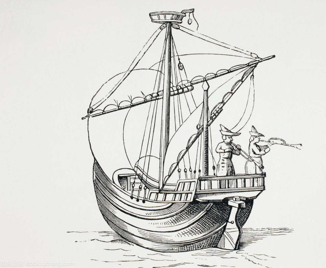 一艘15从中的帆船。军事宗教的世纪和世纪生比亚迪速锐EUC图片