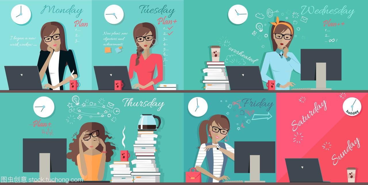 女人计划工作周设计单位。从周一到周五的每个