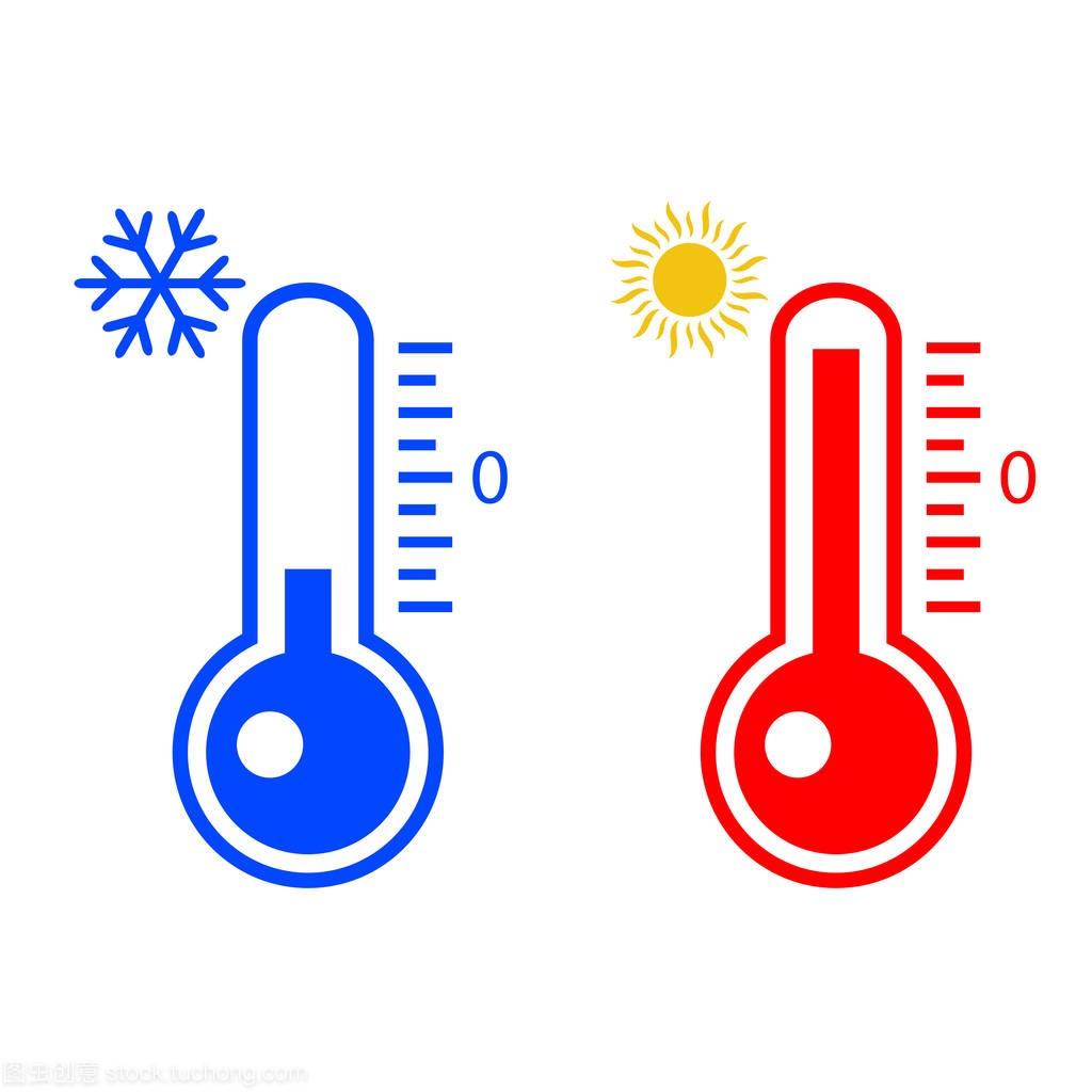 温度计测量热与冷,与太阳和雪花图标