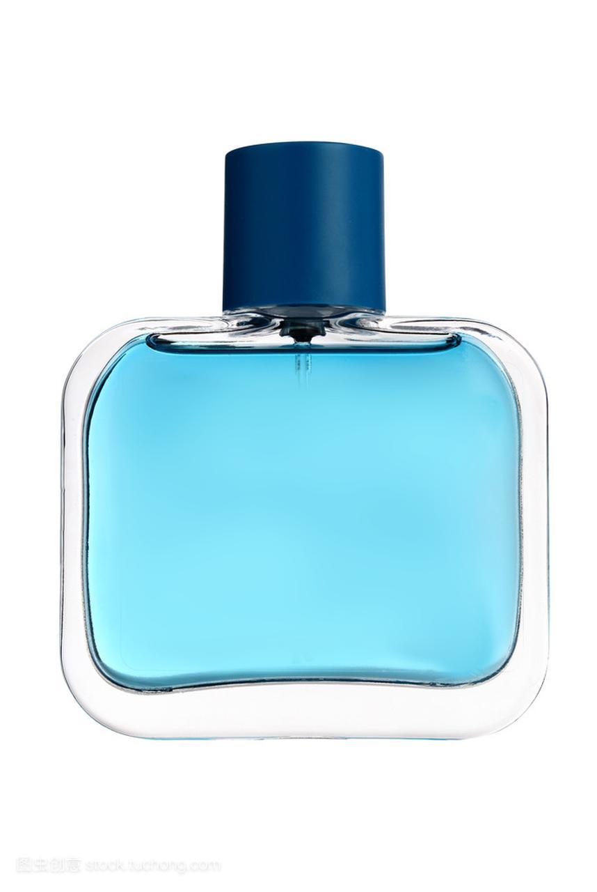 孤立的白色衬底上的蓝色玻璃香水瓶