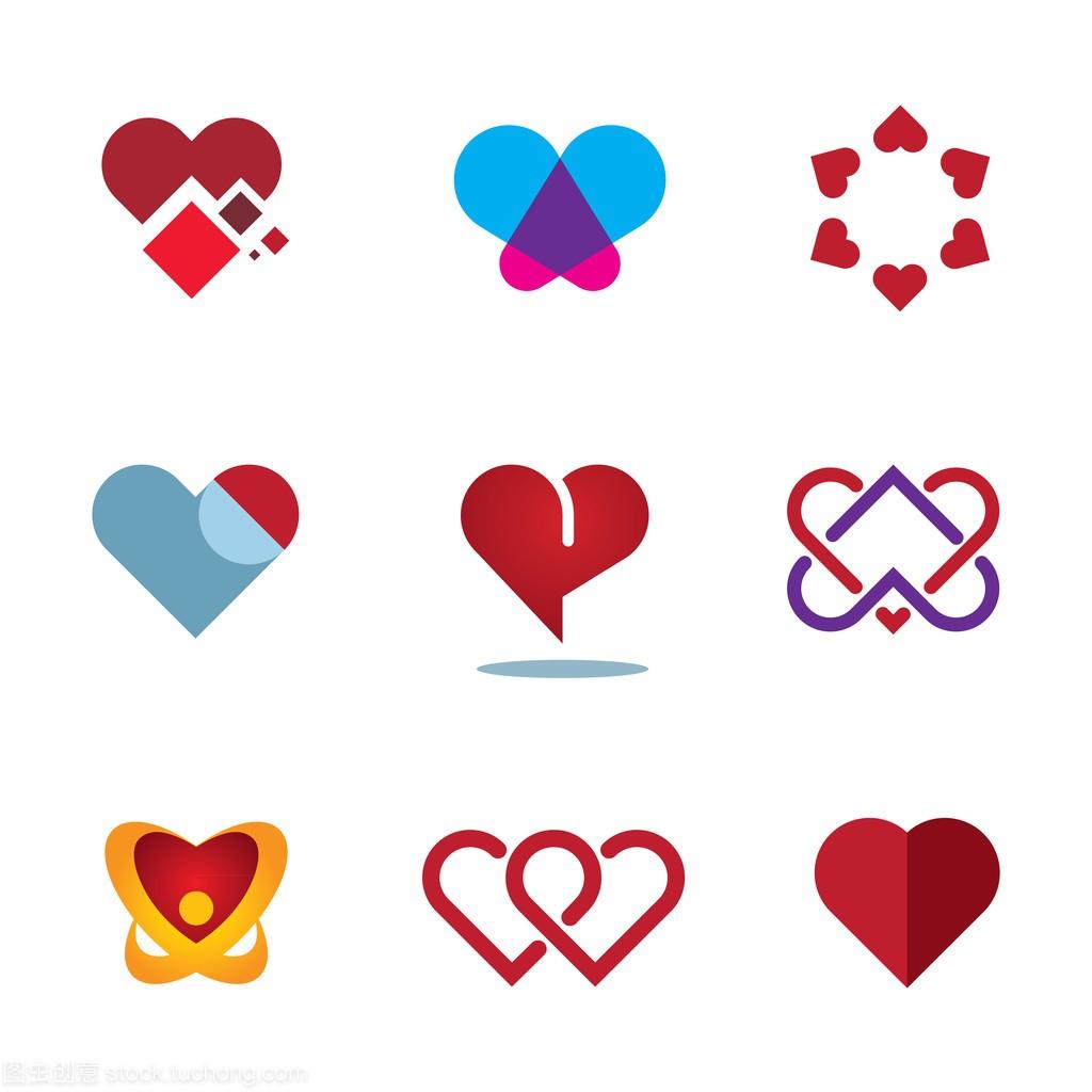 不同的红心形状女人爱象征花标志图标
