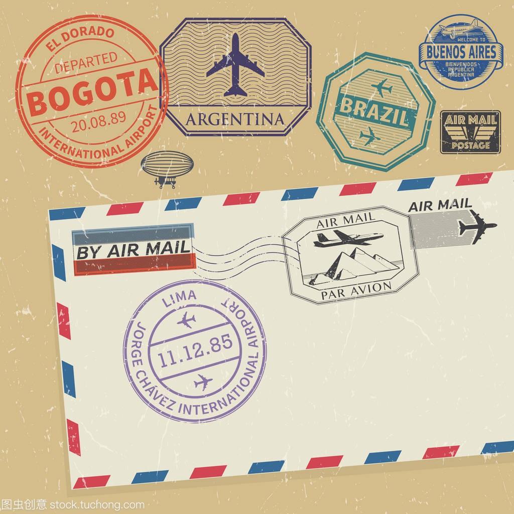 旅行的南美洲城市名称设置的邮票