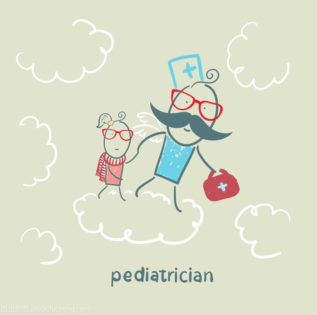 儿科医生抱着婴儿在云上运行