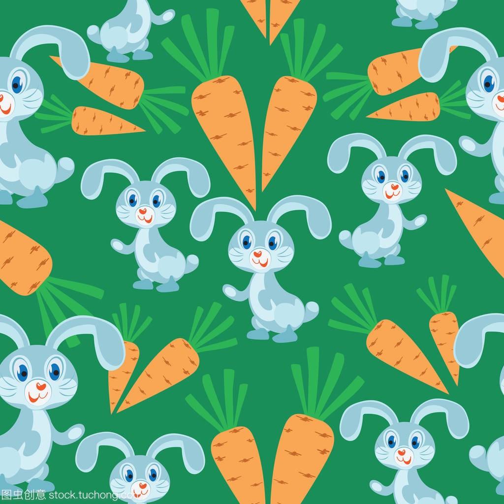 绿色背景上的胡萝卜兔