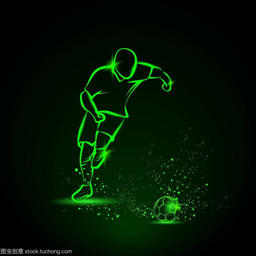 足球运动员带球跑。绿色霓虹灯运动图