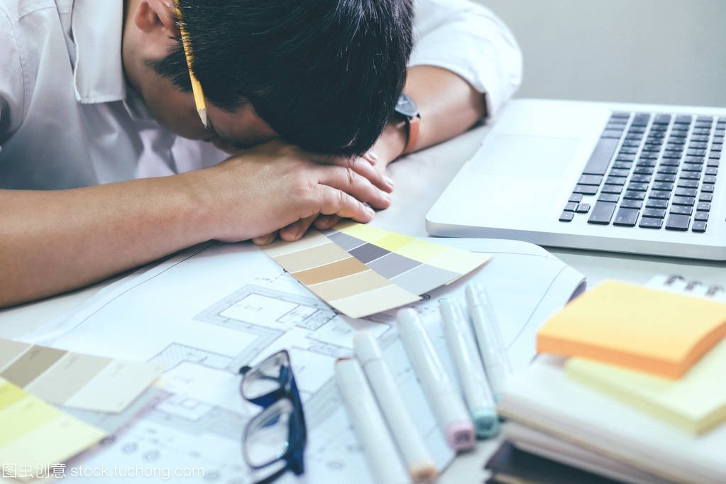 Tiresome and overwork concept. Architect or In