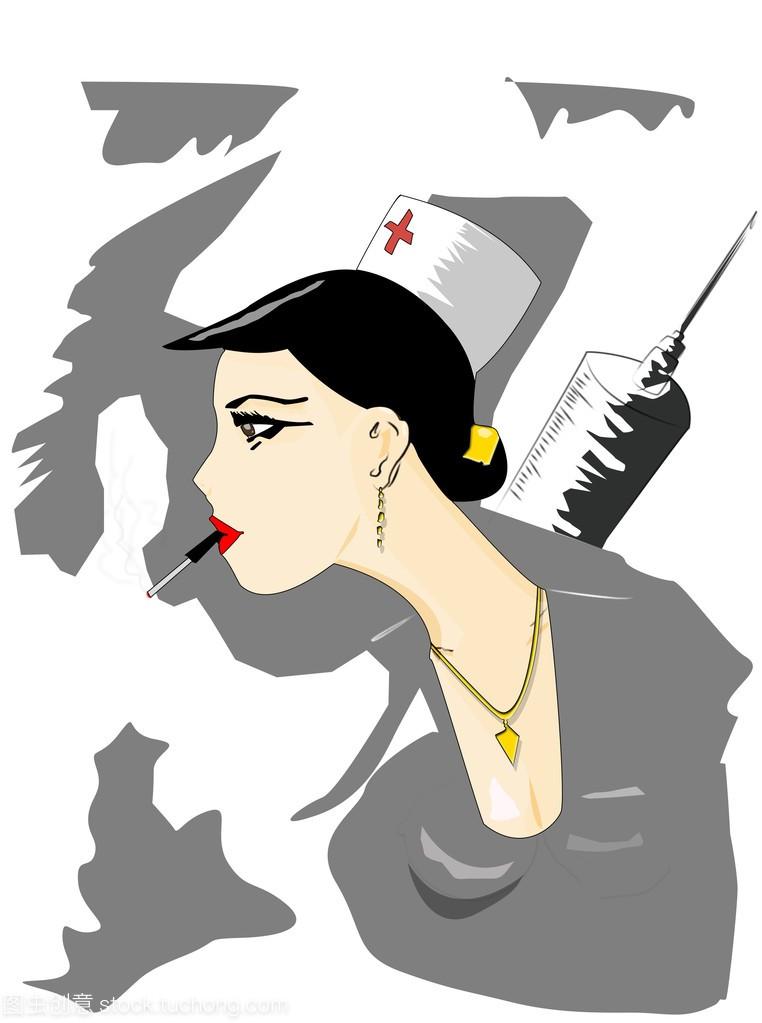 性感护士与一支香烟