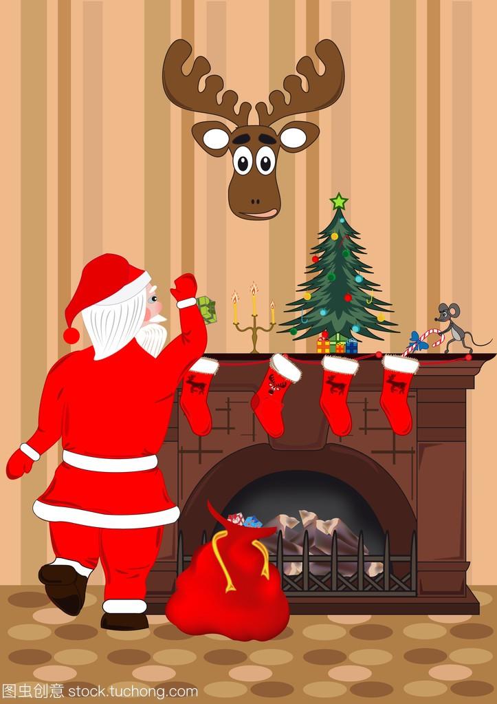 圣诞老人把礼物放在圣诞袜子