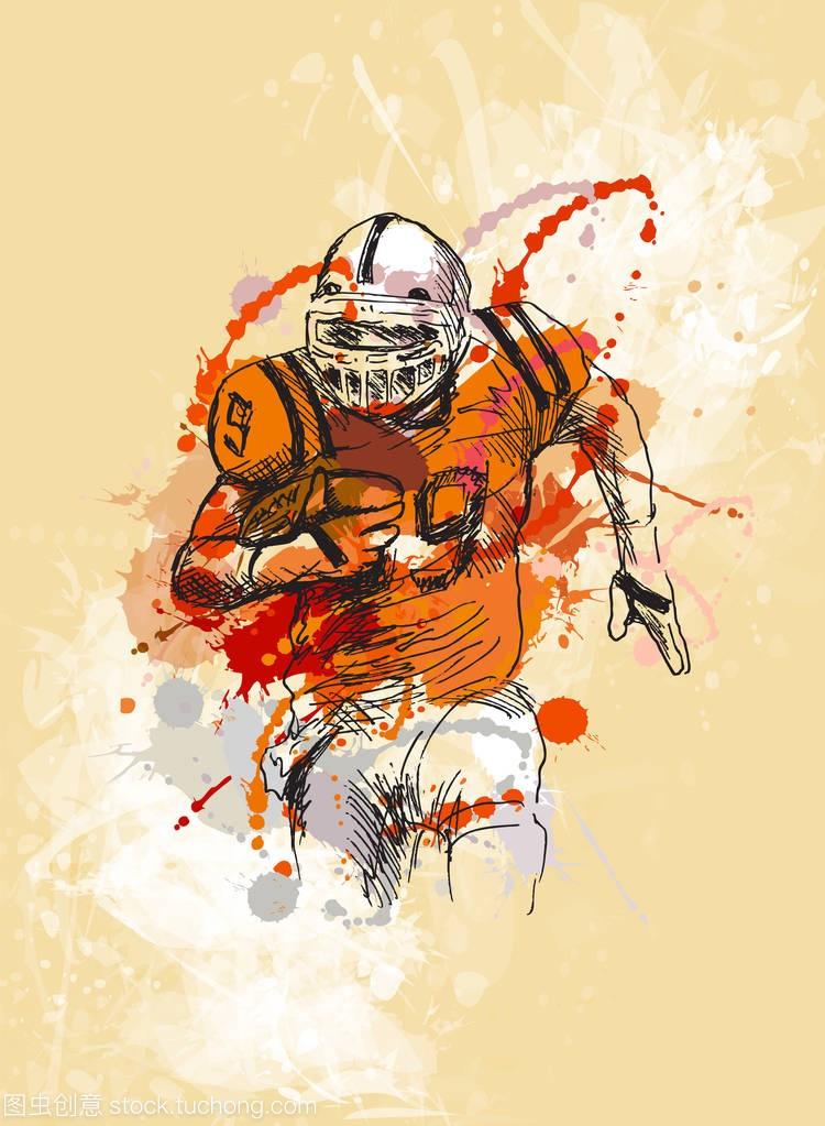 彩色的手垃圾背景的美式足球球员的剪影