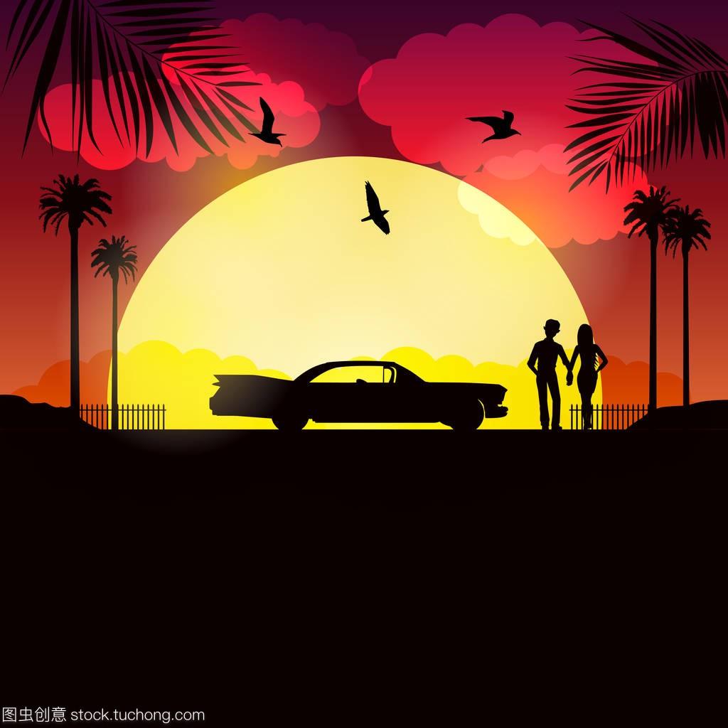 婚礼在古巴附近海域阳光夫妇和他们的车在晚上