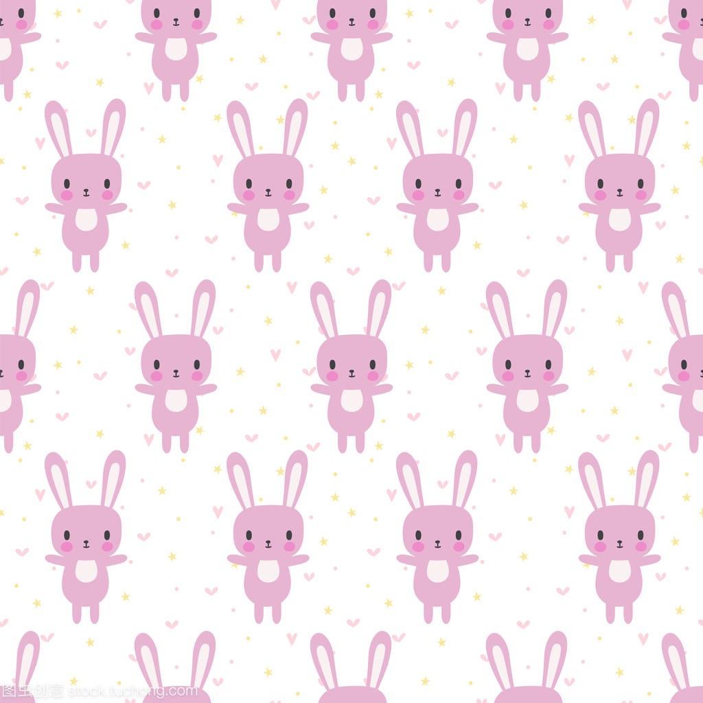 与卡通兔子可爱无缝模式。小女孩和小男孩的搞