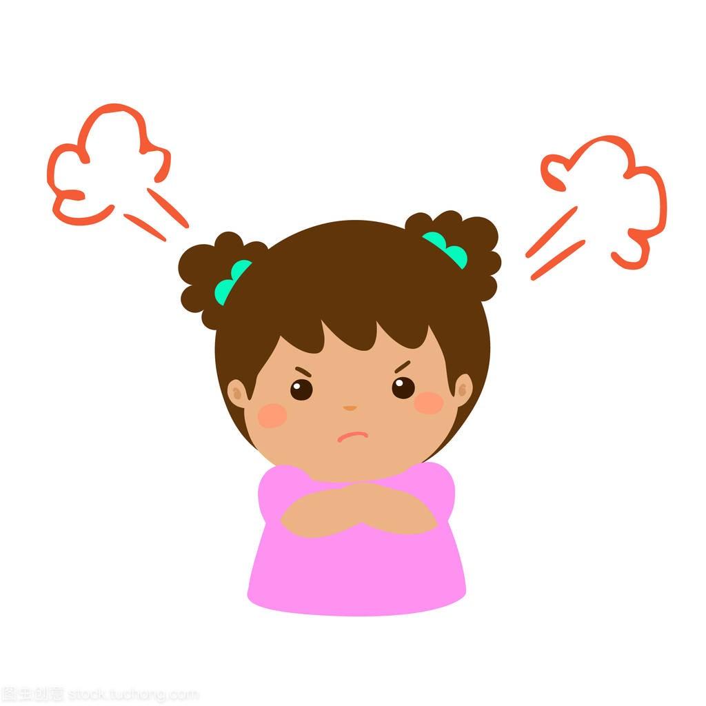 可爱的卡通生气的女孩特征向量