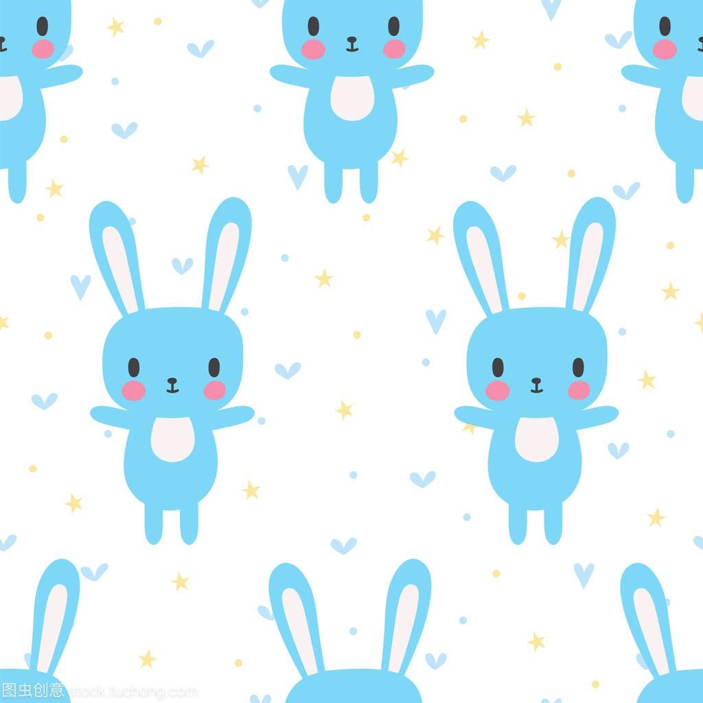 与卡通兔子可爱无缝模式。小男孩和女孩的搞笑