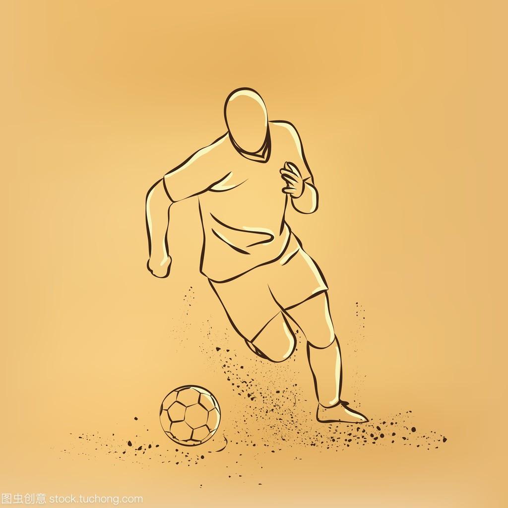 运球足球。足球运动员带球跑