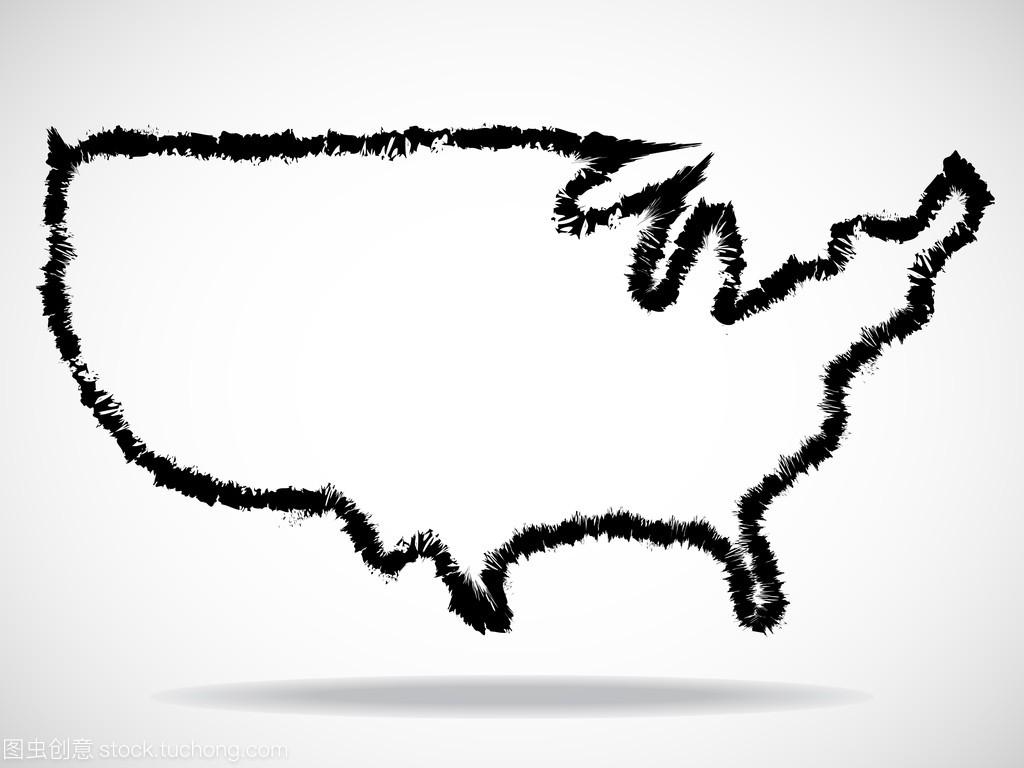 抽象的美国地图的轮廓