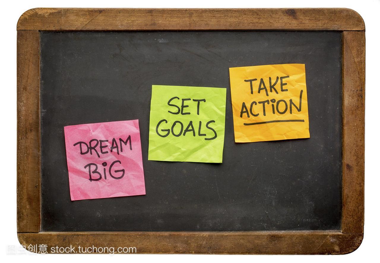 梦想大、 设定目标、 采取的行动