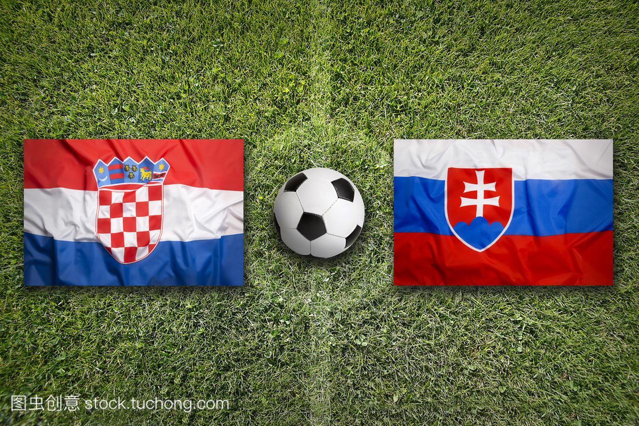 足球场上的克罗地亚主场迎战斯洛伐克标志
