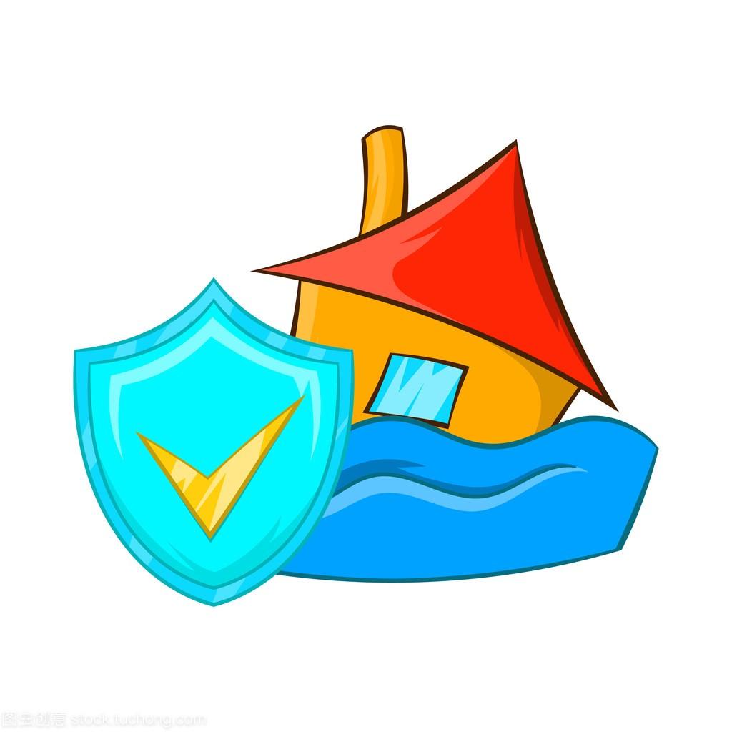 洪水保险图标,卡通风格
