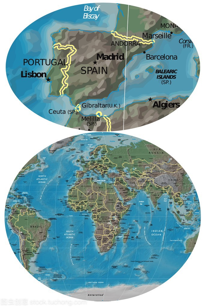 西班牙葡萄牙和欧洲非洲地图