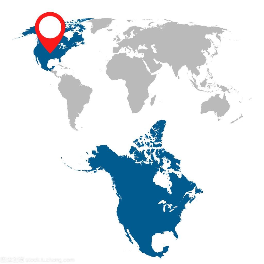 北美和世界地图导航集的详细的地图。平面矢量