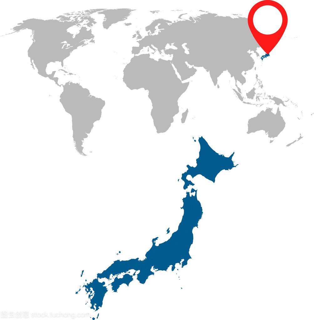日本和世界地图导航集的详细的地图。平面矢量