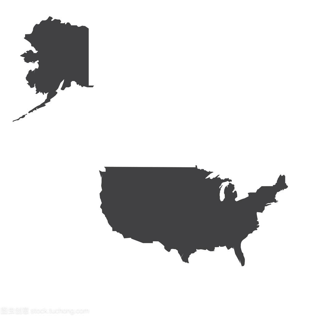 美国地图轮廓图