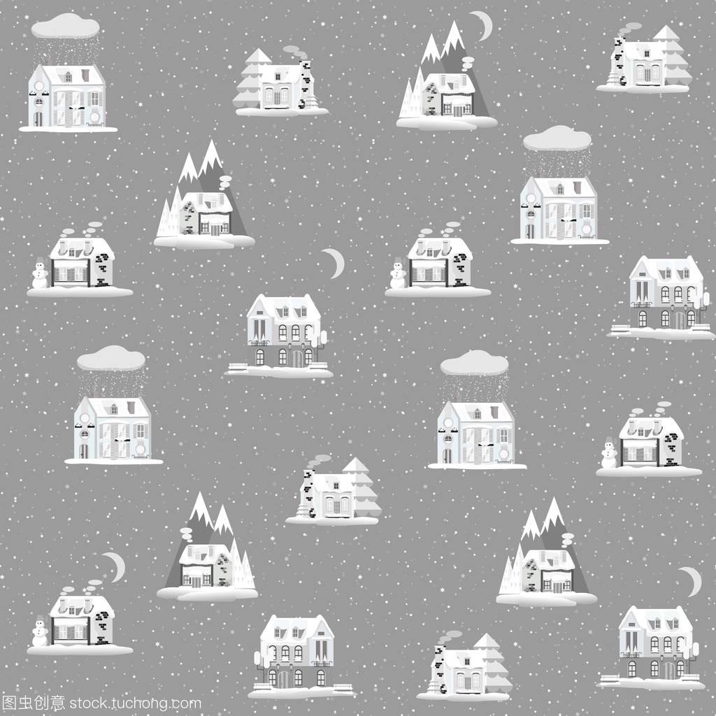 无缝模式与装饰色彩缤纷的房子在冬天的时候。