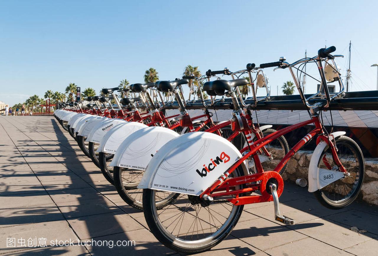 在西班牙巴塞罗那举行自行车出租