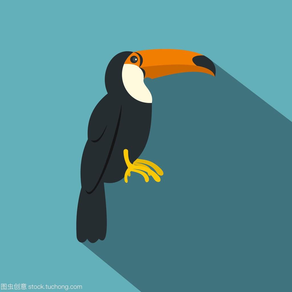 巨嘴鸟,国鸟 vitellinus 图标,平面样式