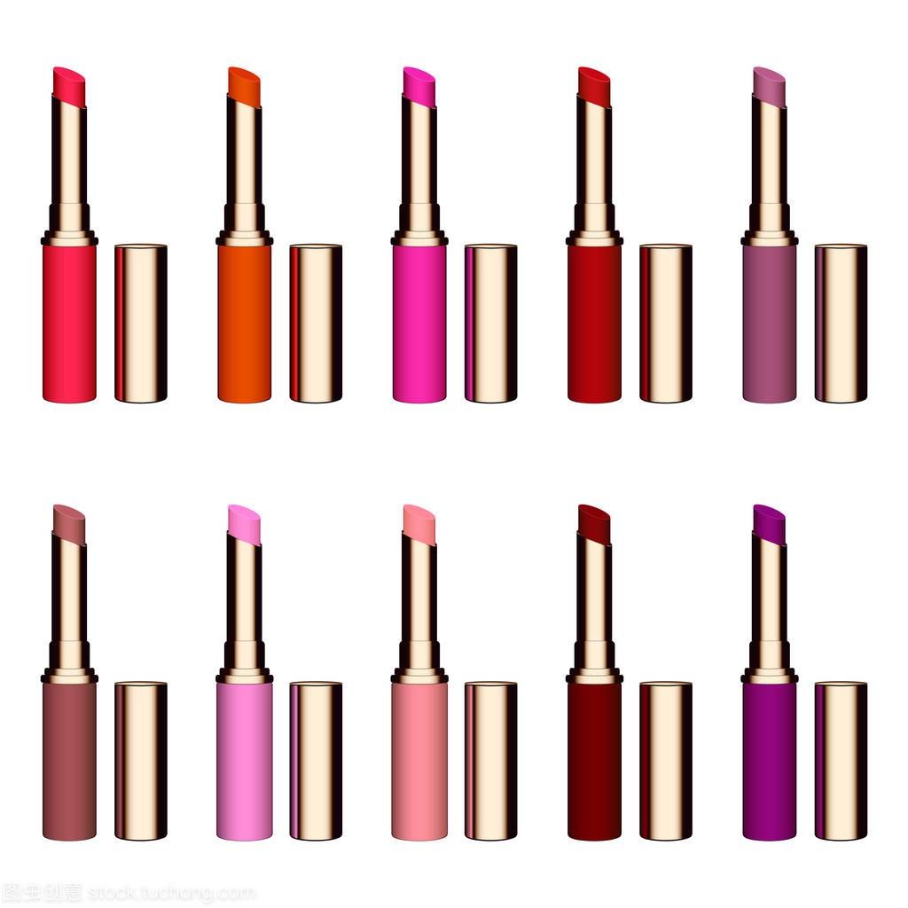 组的颜色的口红。红色的唇膏,粉色口红,橙色口
