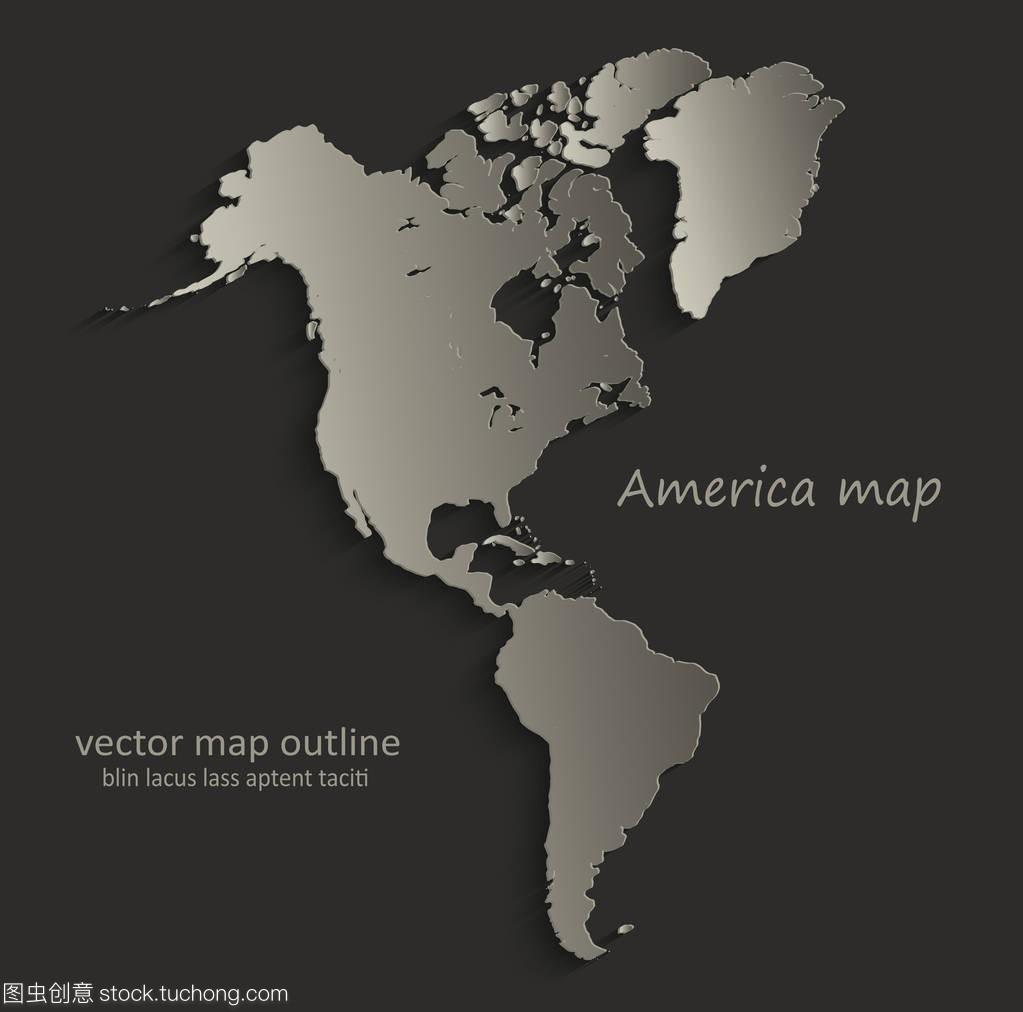 美国地图轮廓卡空白黑色矢量