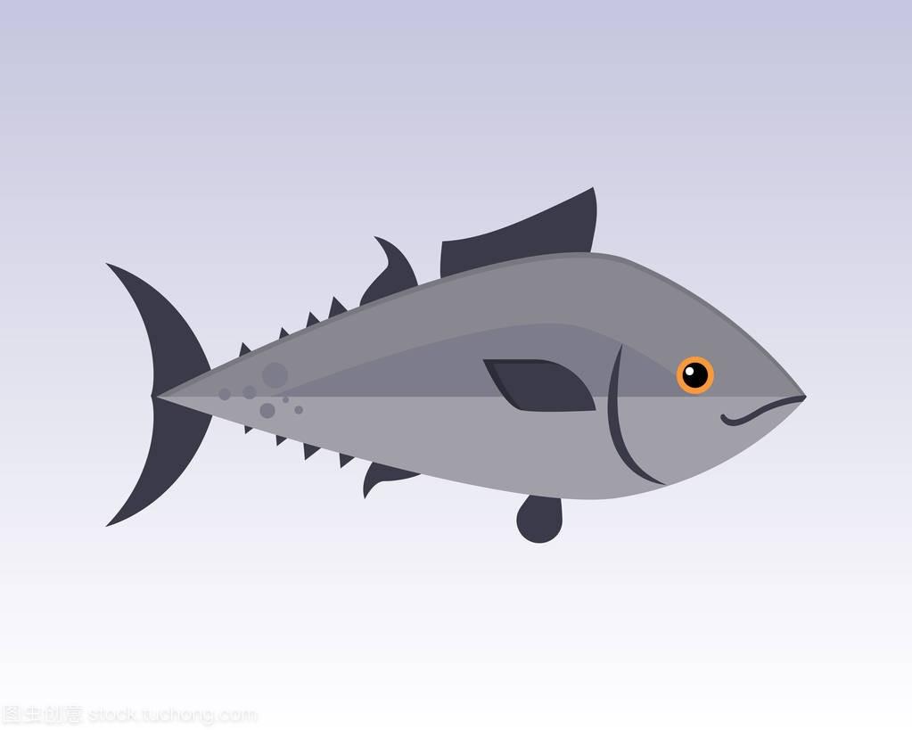 可爱的鱼灰色卡通搞笑游泳动物图形字符和水下