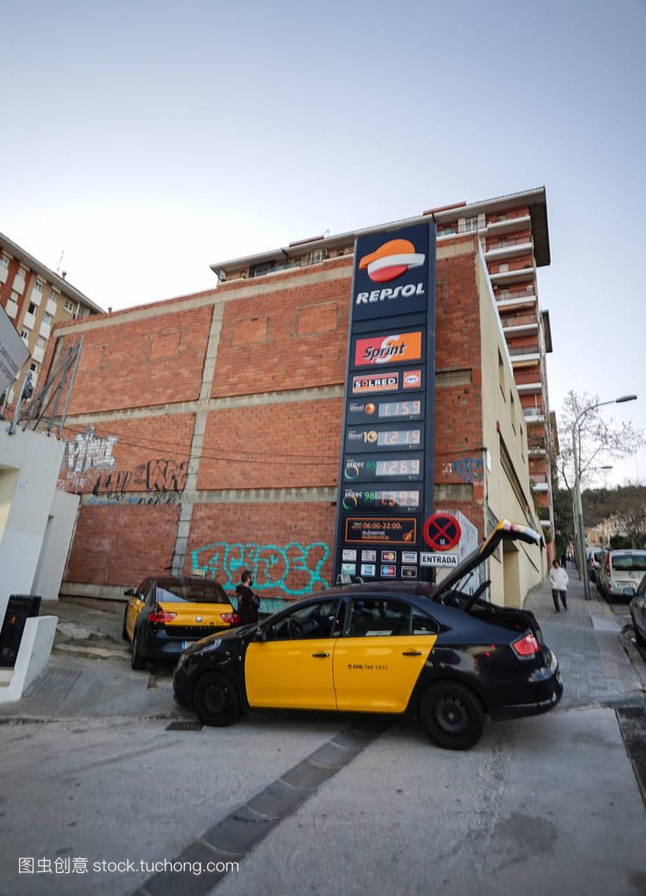 巴塞罗那出租车上加油站